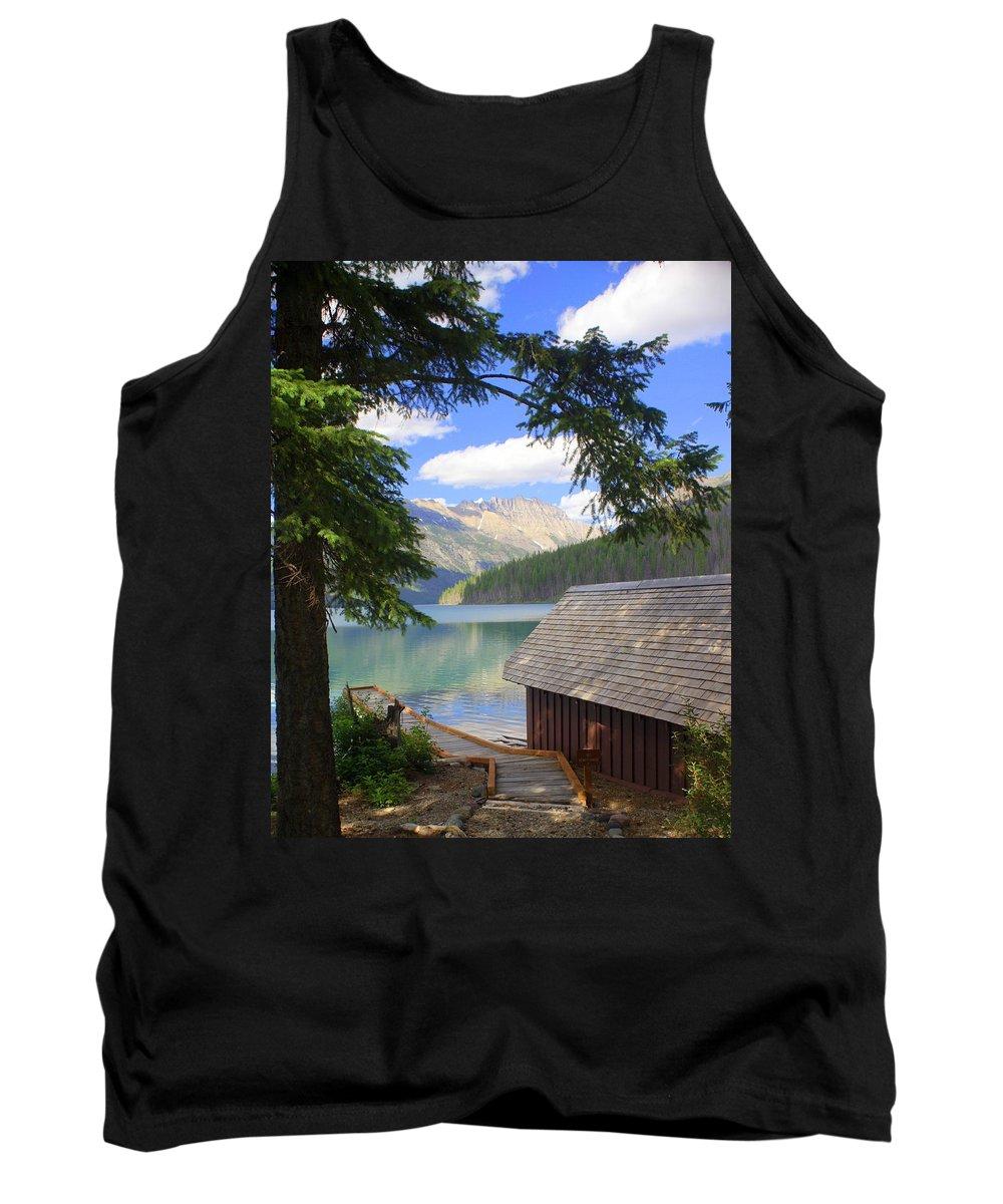 Glacier National Park Tank Top featuring the photograph Kintla Lake Ranger Station Glacier National Park by Marty Koch