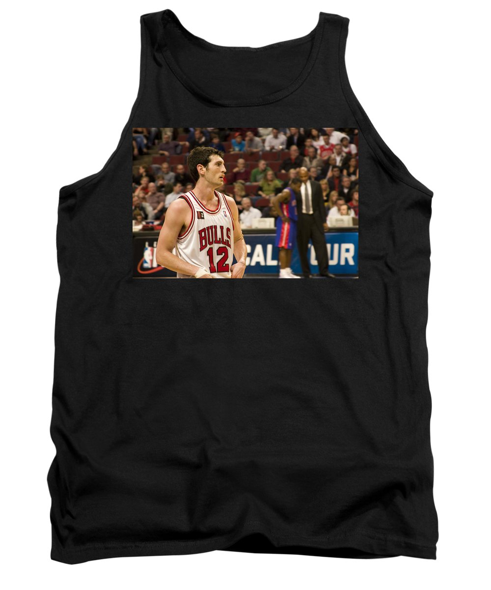 Chicago Windy City Bulls Basketball Nba Kirk Hinrich 12 Game United Center Home Tank Top featuring the photograph Kirk Hinrich by Andrei Shliakhau