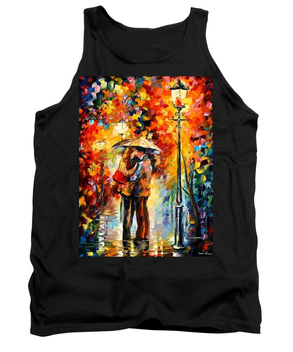 Afremov Tank Top featuring the painting Kiss Under The Rain by Leonid Afremov