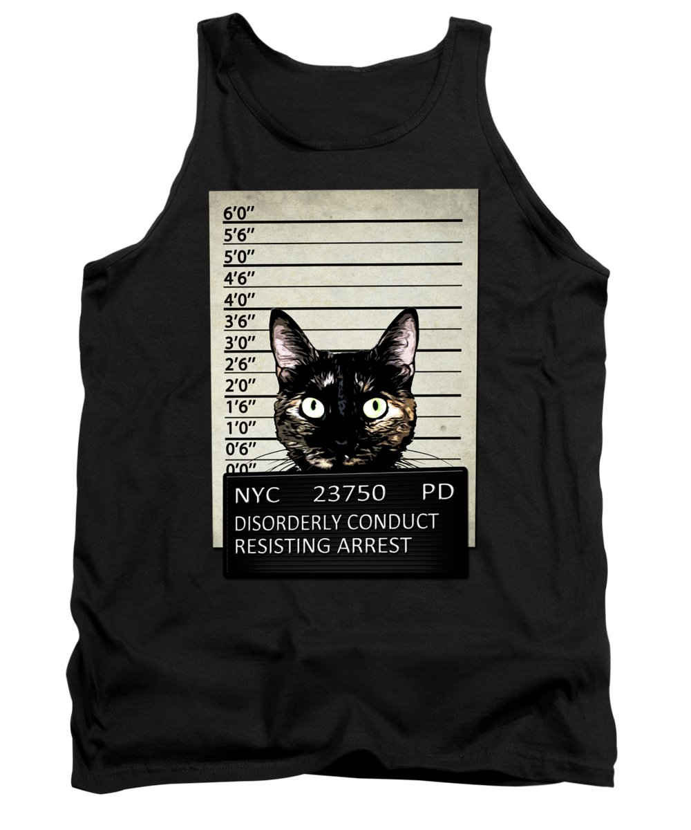 Cat Tank Top featuring the mixed media Kitty Mugshot by Nicklas Gustafsson