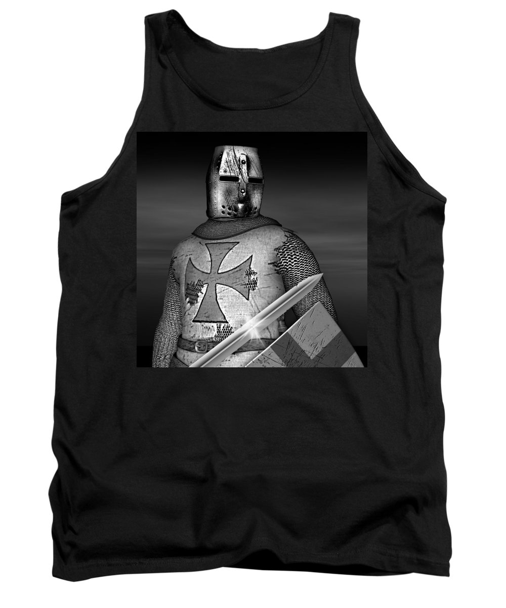 Knight Tank Top featuring the digital art Knight Templar by David Griffith