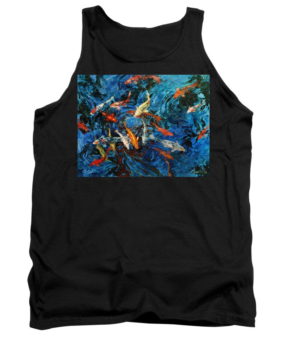 Koi Tank Top featuring the painting Koi IIi by Rick Nederlof