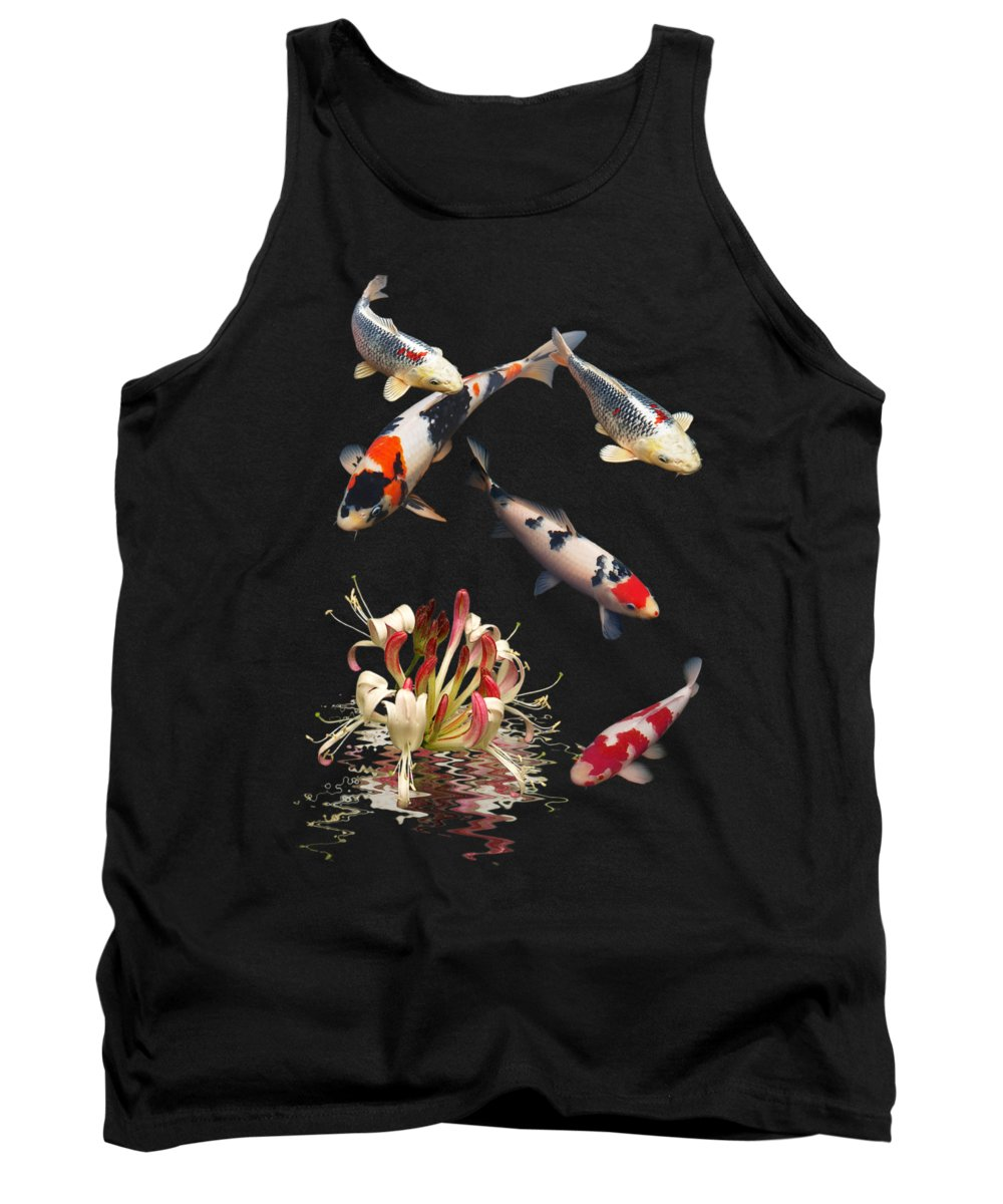 Fish Tank Top featuring the photograph Koi With Honeysuckle Reflections Vertical by Gill Billington