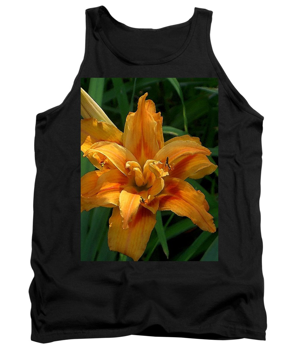Daylily Tank Top featuring the photograph Kwanzaa Lily Watercolor by Carolyn Jacob