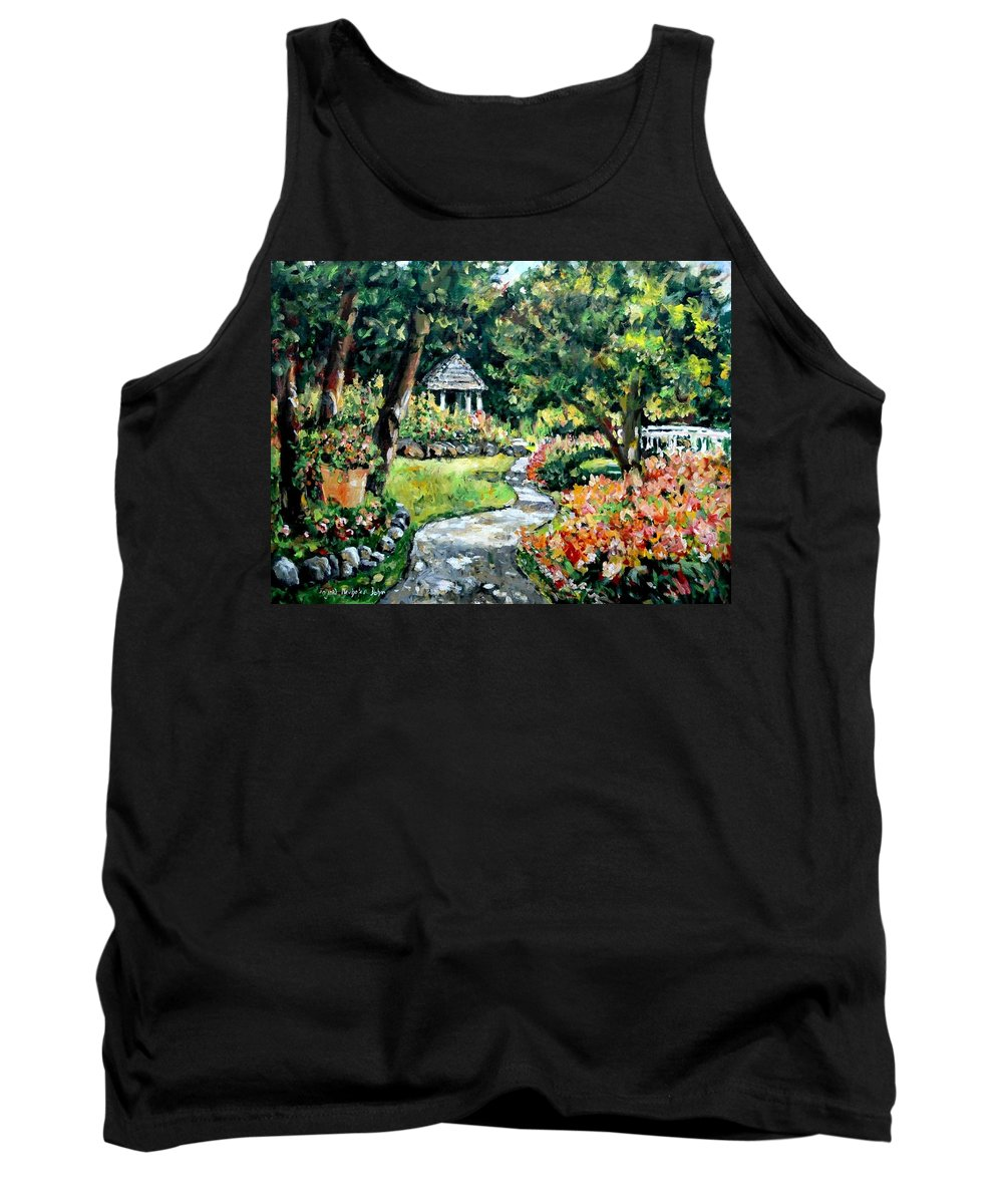 Landscape Tank Top featuring the painting La Paloma Gardens by Alexandra Maria Ethlyn Cheshire