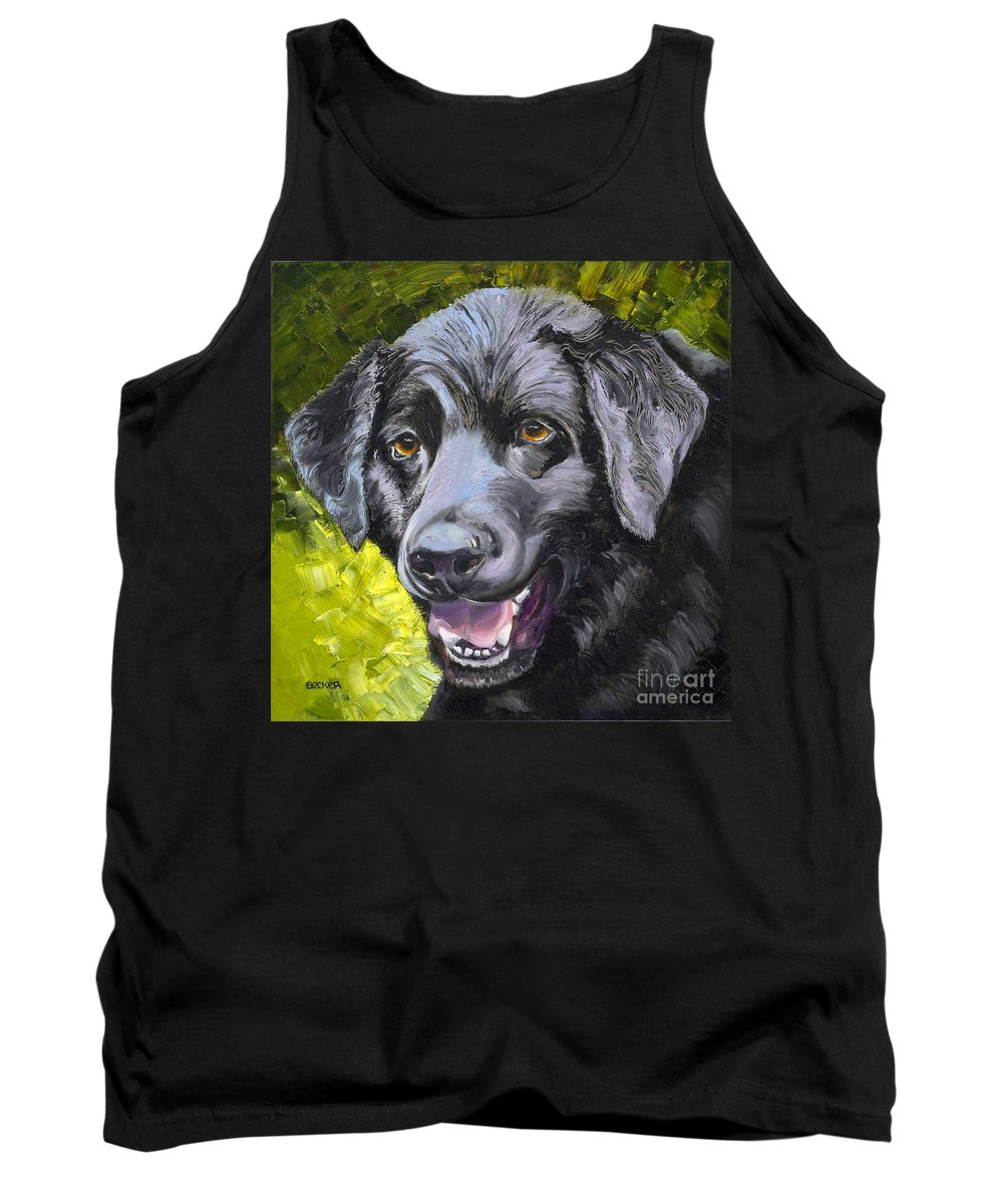 Labrador Retriever Tank Top featuring the painting Lab Out Of The Pond by Susan A Becker
