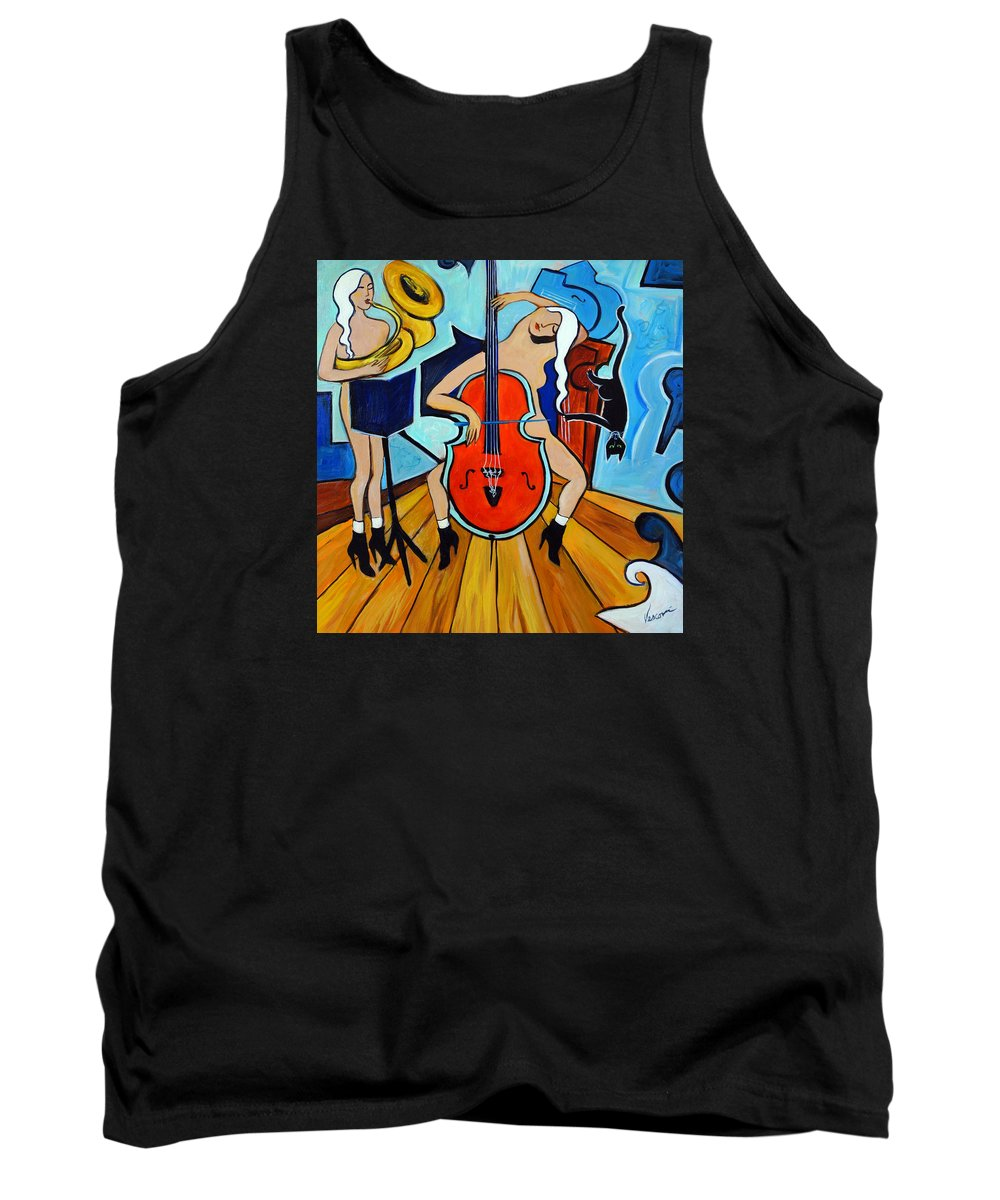 Musicians Tank Top featuring the painting Lady In Red by Valerie Vescovi