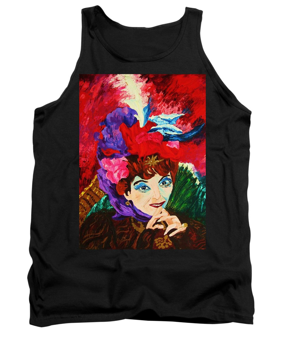 Red Hats Tank Top featuring the painting Lady With The Red Hat by Carole Spandau