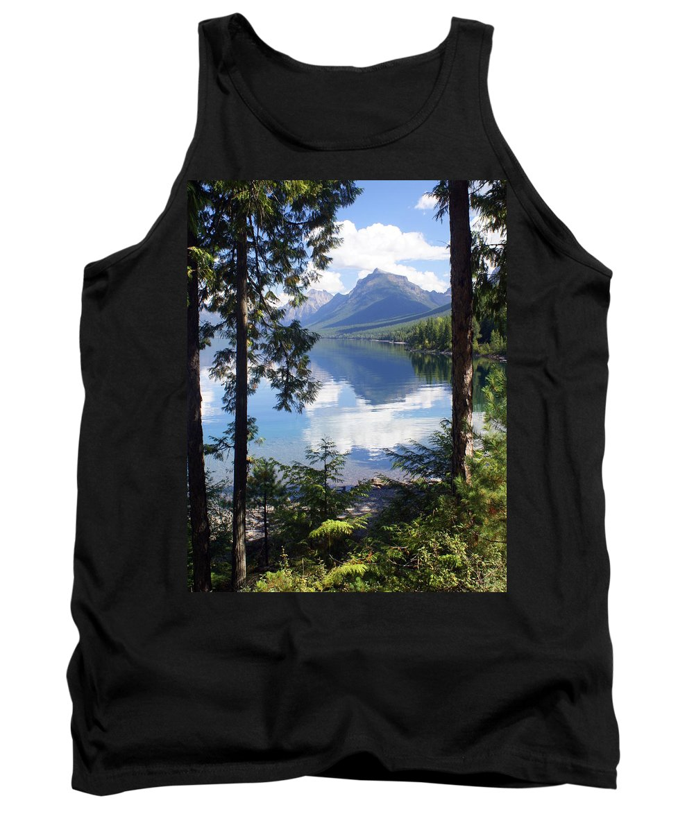 Glacier National Park Tank Top featuring the photograph Lake Mcdlonald Through The Trees Glacier National Park by Marty Koch