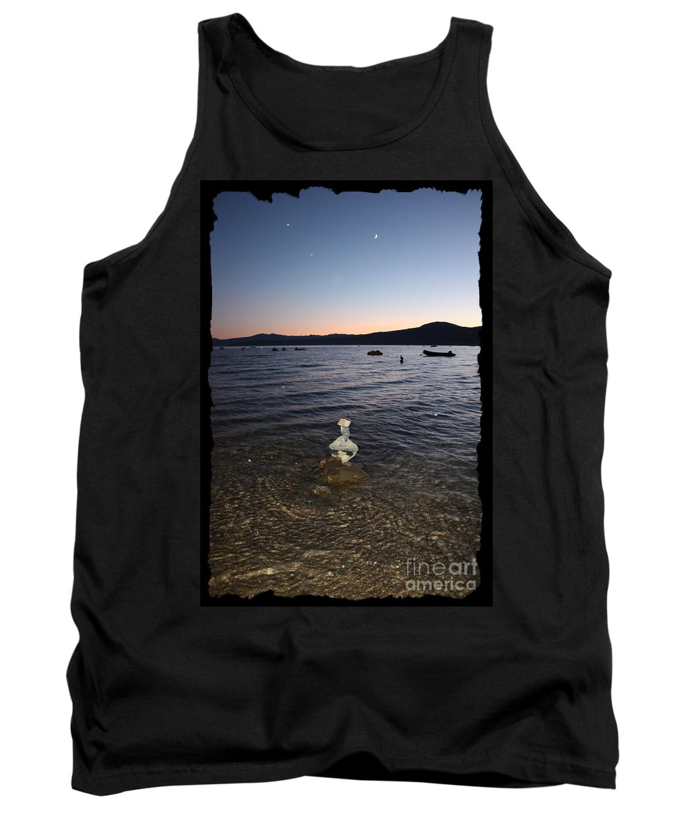 Lake Tahoe Tank Top featuring the photograph Lake Tahoe Sunset With Rocks And Black Framing by Carol Groenen