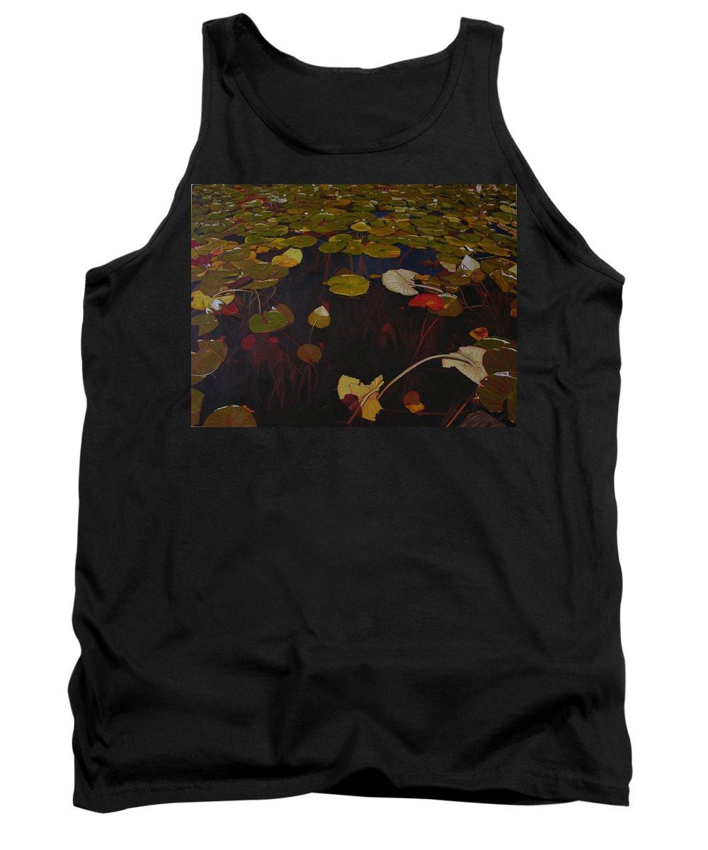Water Tank Top featuring the painting Lake Washington Lilypad 7 by Thu Nguyen