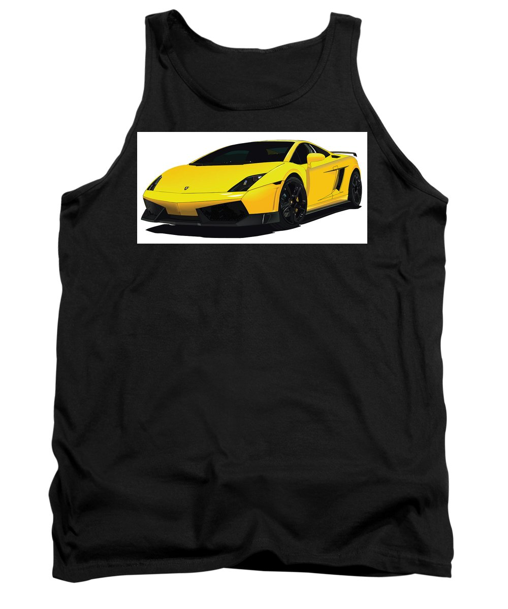 Lambo Custom Digital Yellow Tank Top featuring the digital art Lambo by Anthony Ruiz
