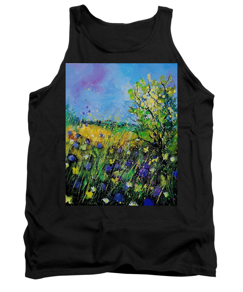 Flowers Tank Top featuring the painting Landscape With Cornflowers 459060 by Pol Ledent