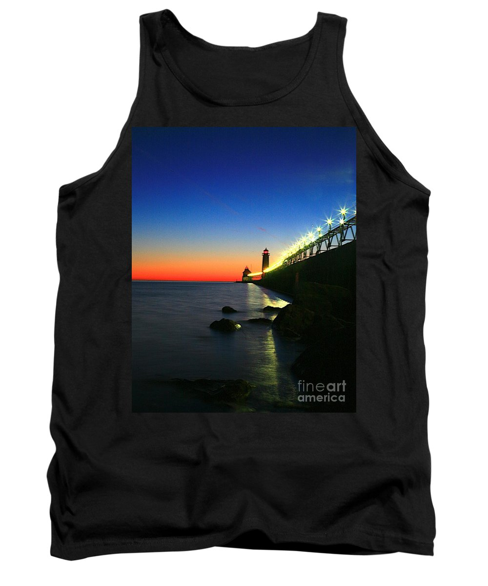 Water Tank Top featuring the photograph Last Light Grand Haven Michigan by Robert Pearson