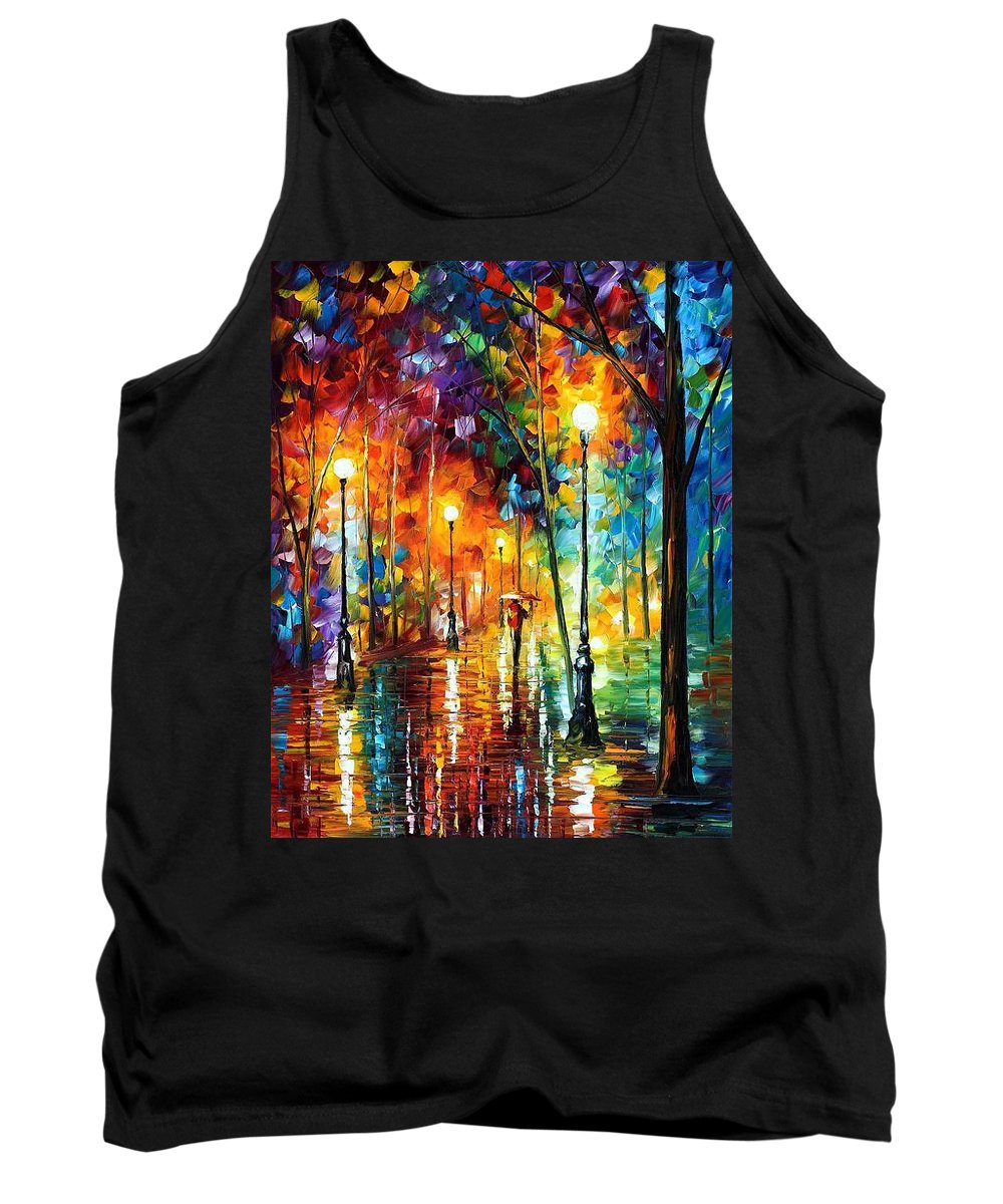 Afremov Tank Top featuring the painting Late Stroll by Leonid Afremov