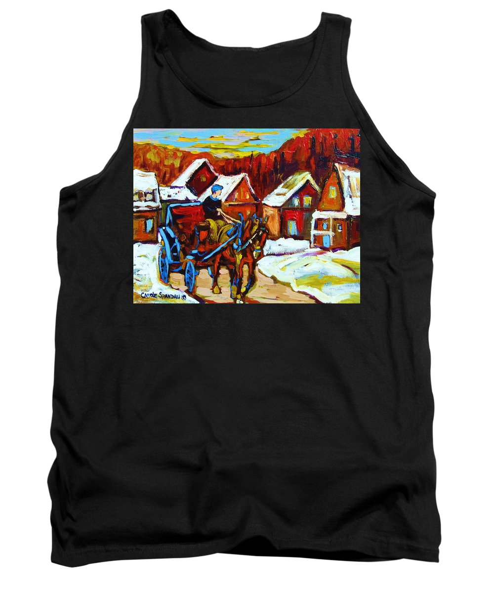 Horse And Carriage Tank Top featuring the painting Laurentian Village Ride by Carole Spandau