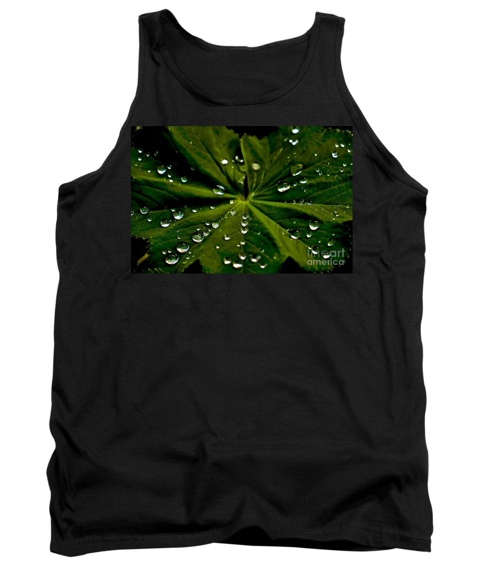 Water Tank Top featuring the photograph Leaf Covered With Water Droplets by Amber D Meredith Photography
