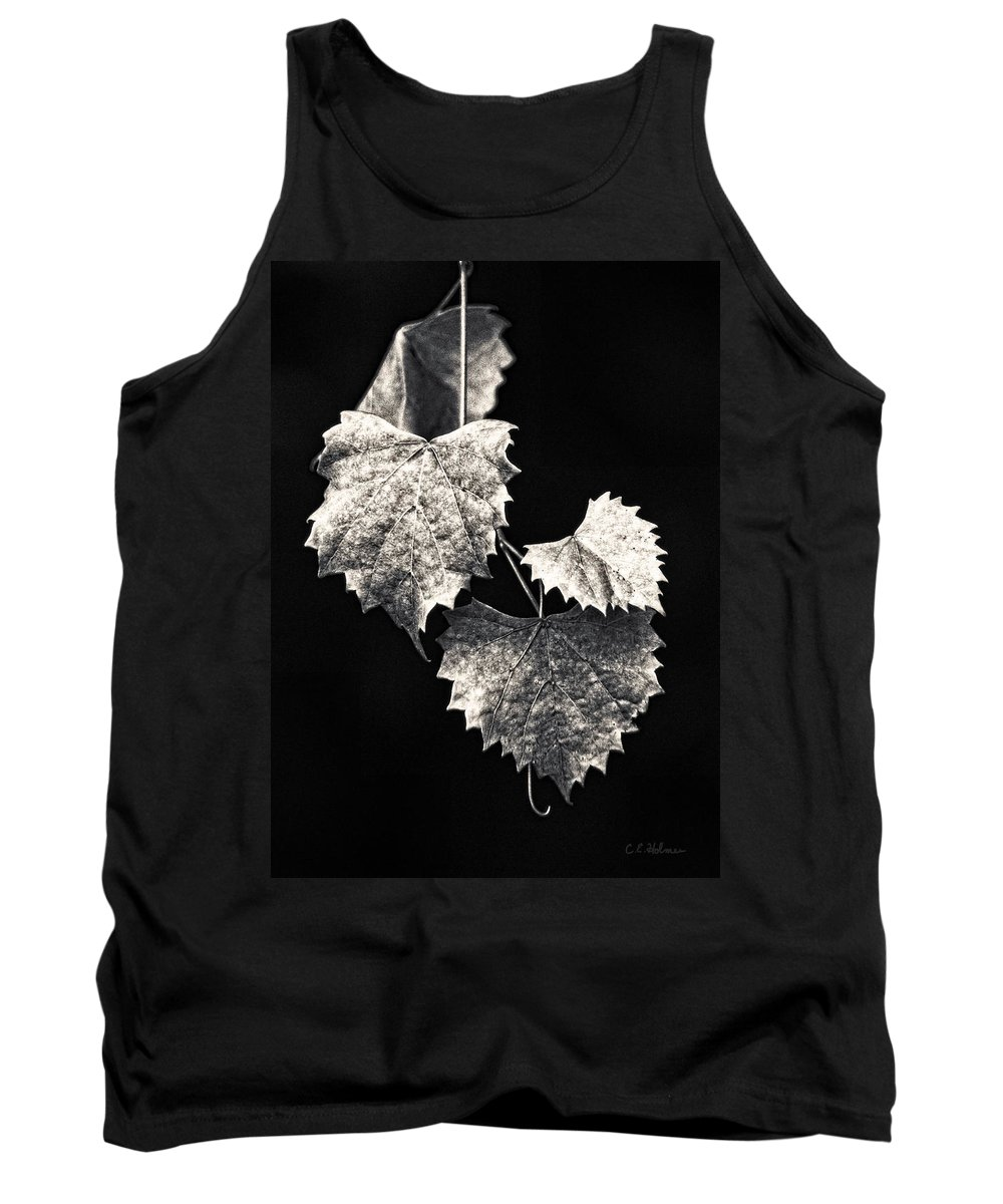 B&w Tank Top featuring the photograph Leaves by Christopher Holmes