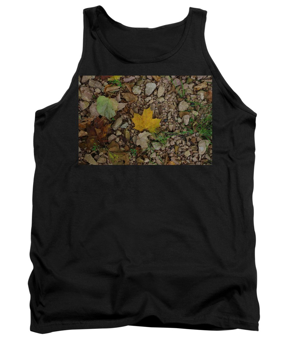 Leaves Tank Top featuring the photograph Leaves On The Rocks by Alice Markham