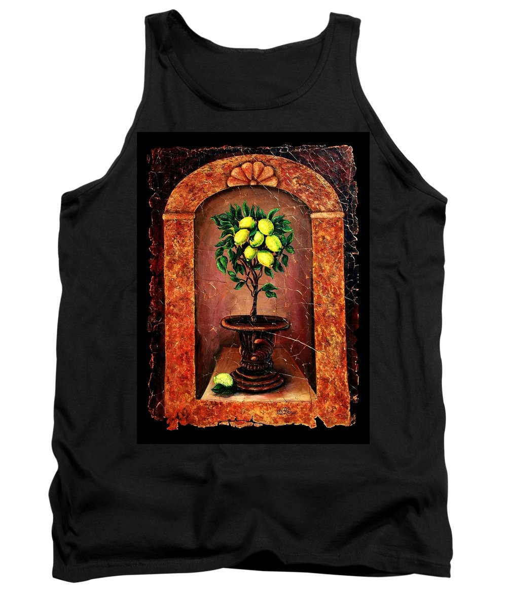 Fresco Antique Tank Top featuring the painting Lemon Tree by OLena Art Brand