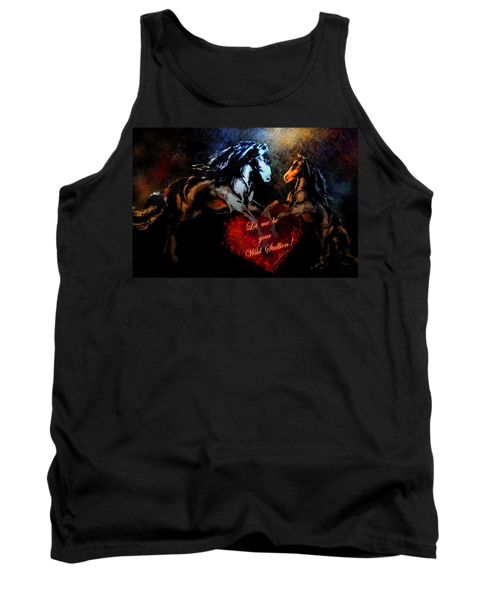 Love Tank Top featuring the painting Let Me Be Your Wild Stallion by Miki De Goodaboom