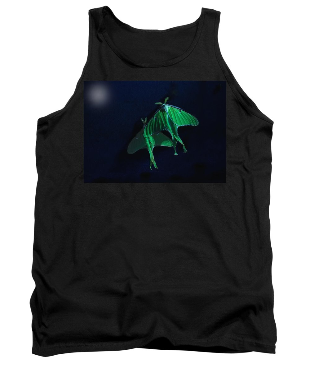 Luna Moth Tank Top featuring the photograph Let's Swim To The Moon by Susan Capuano