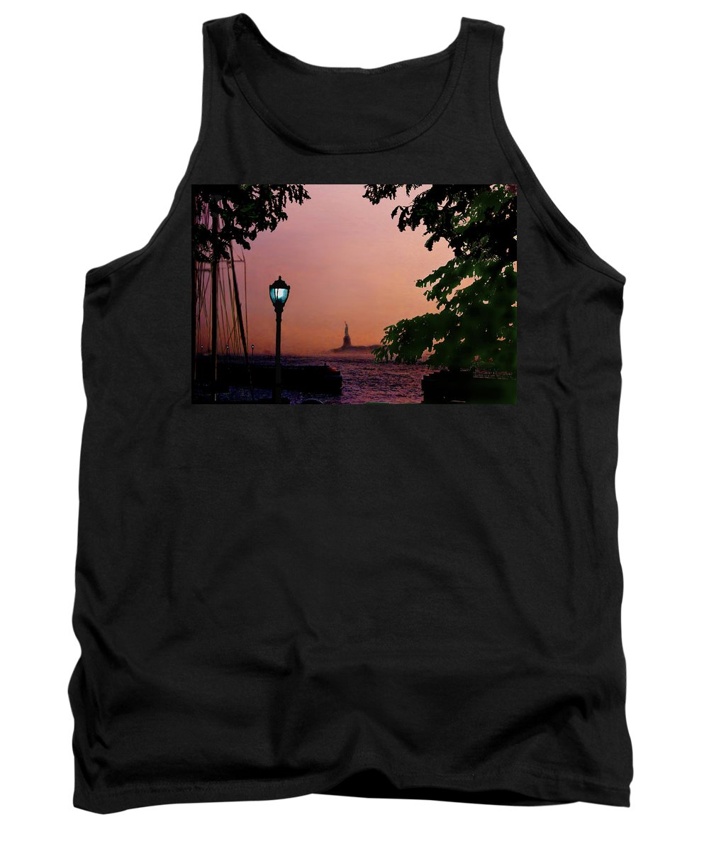 Seascape Tank Top featuring the digital art Liberty Fading Seascape by Steve Karol