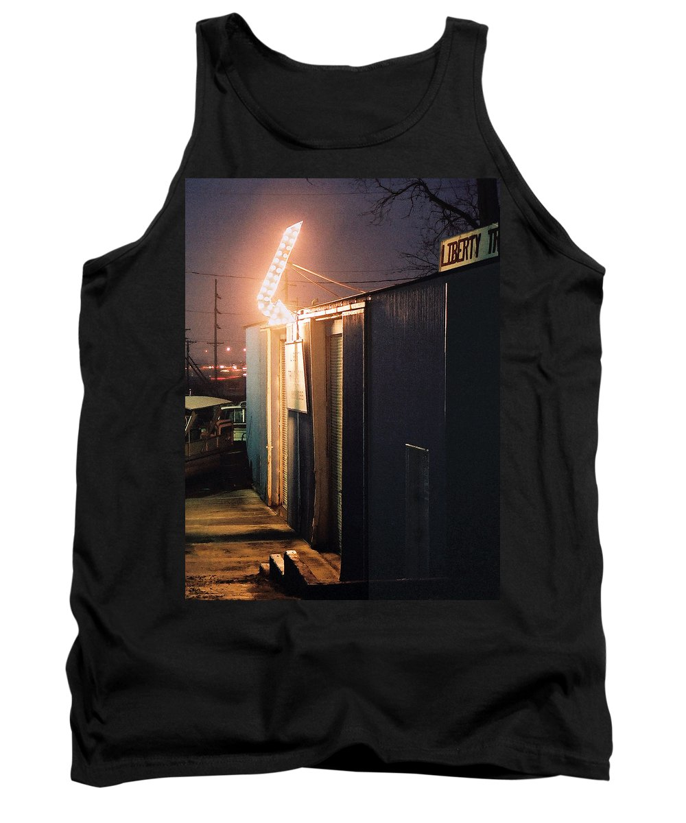 Night Scene Tank Top featuring the photograph Liberty by Steve Karol