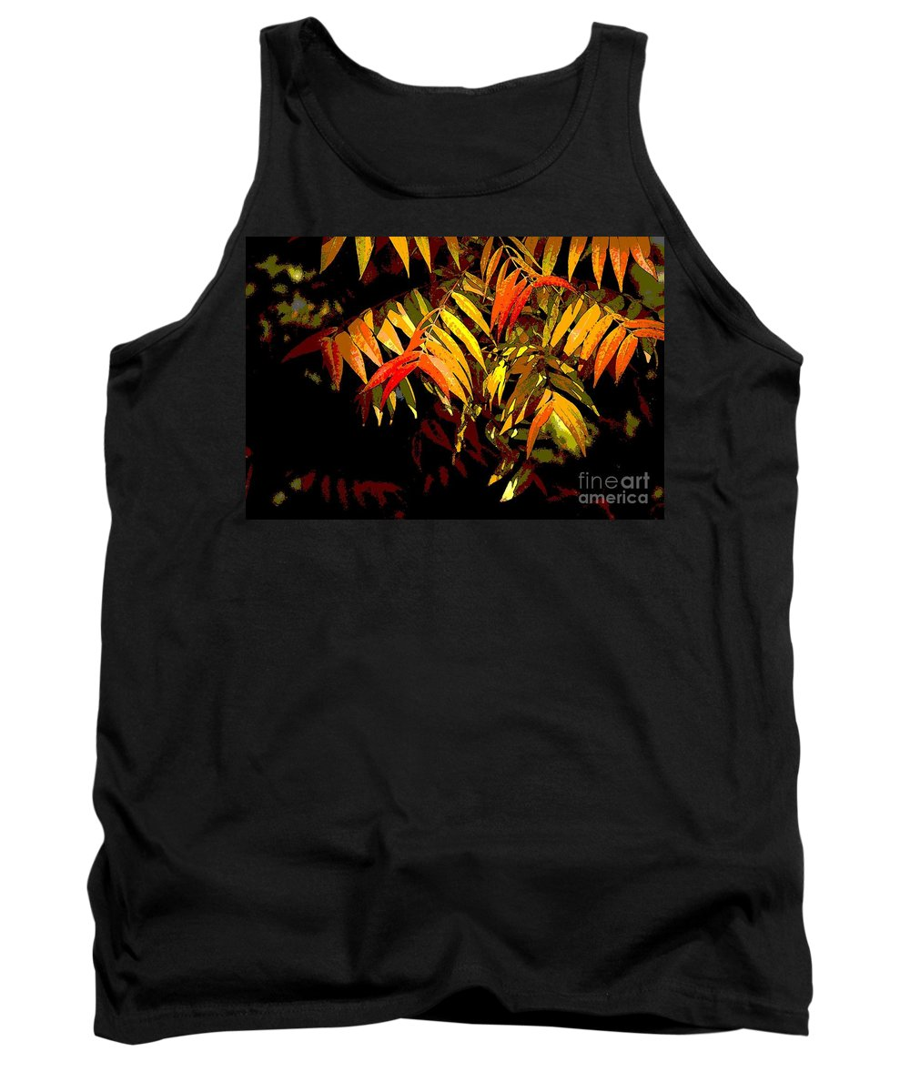 Digital Photographic Art Tank Top featuring the photograph Library Leaves by Norman Andrus