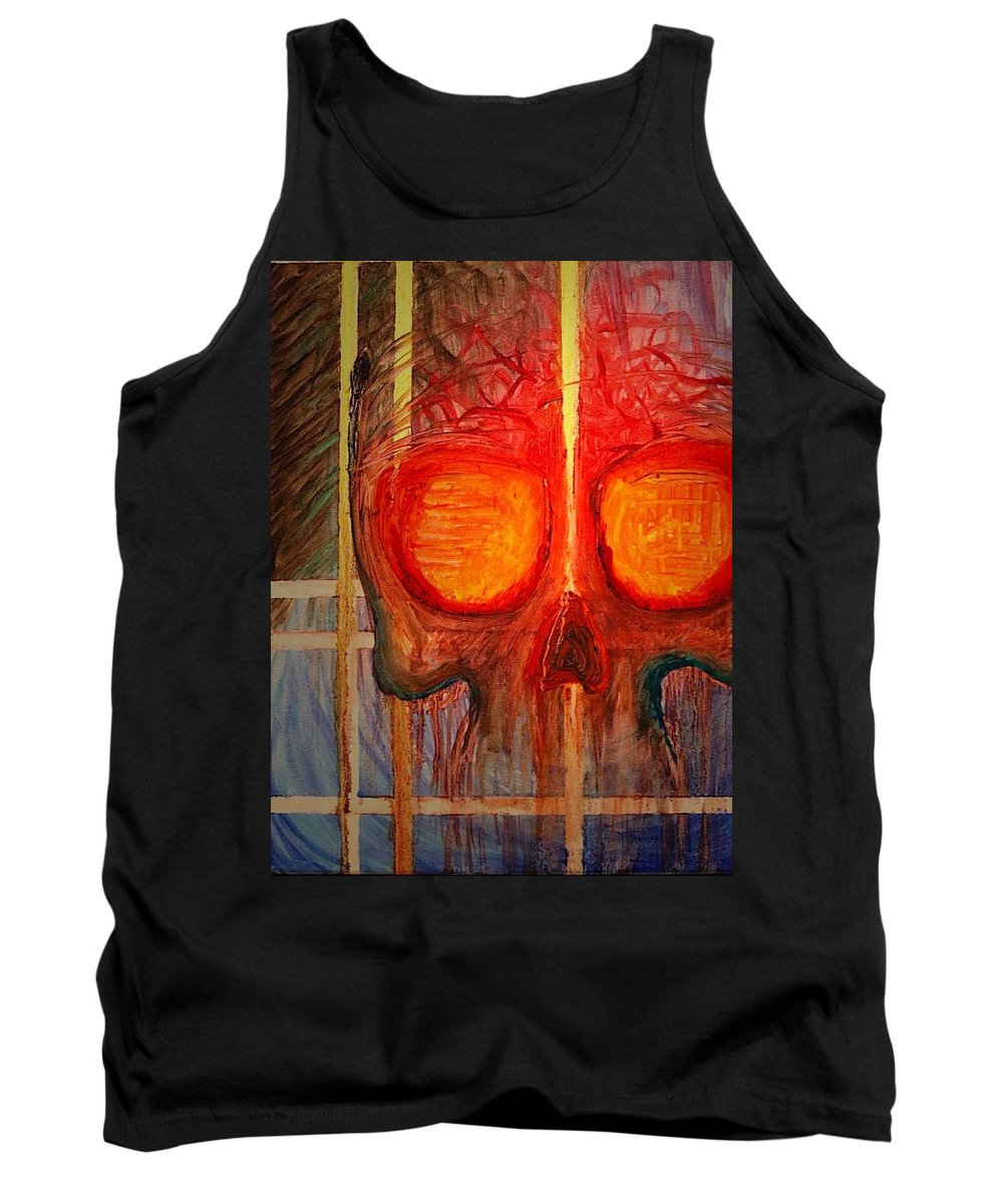 Skull Tank Top featuring the painting Lifeline by Zach Hunter