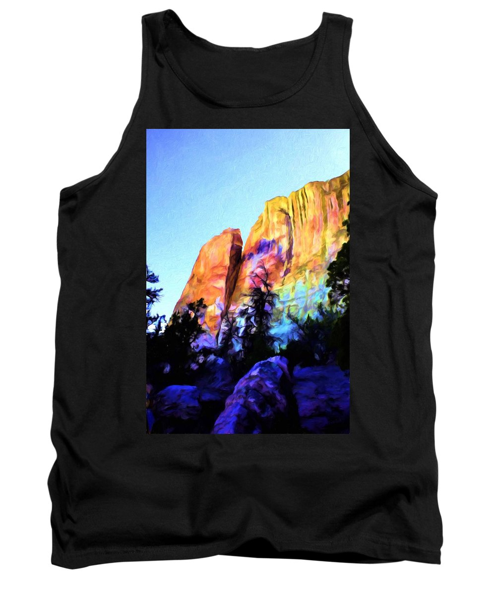 El Moro Tank Top featuring the painting Light On Cliffs by Jim Buchanan