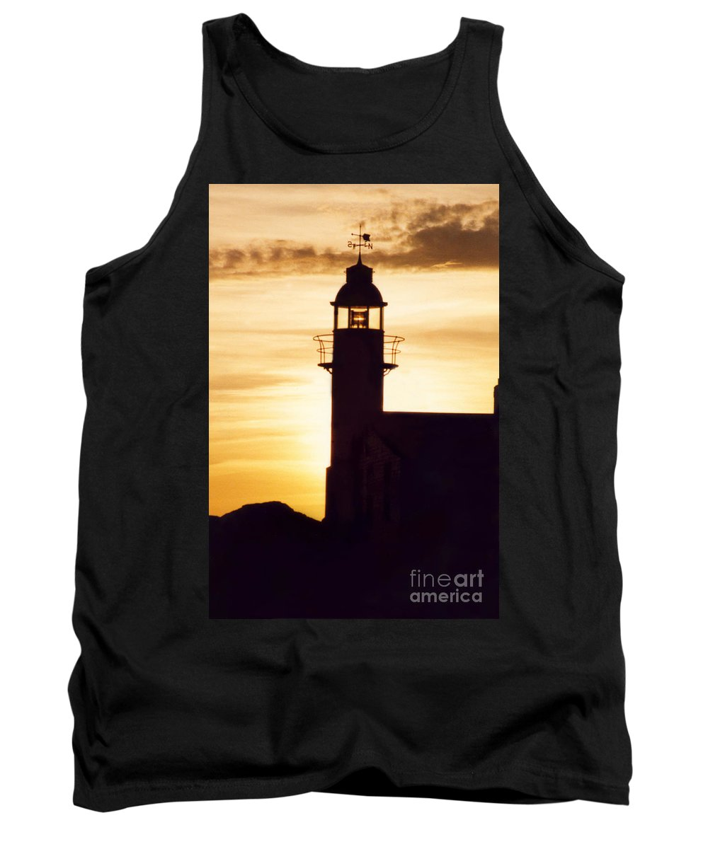 Serene Tank Top featuring the photograph Lighthouse At Sunset by Mary Mikawoz