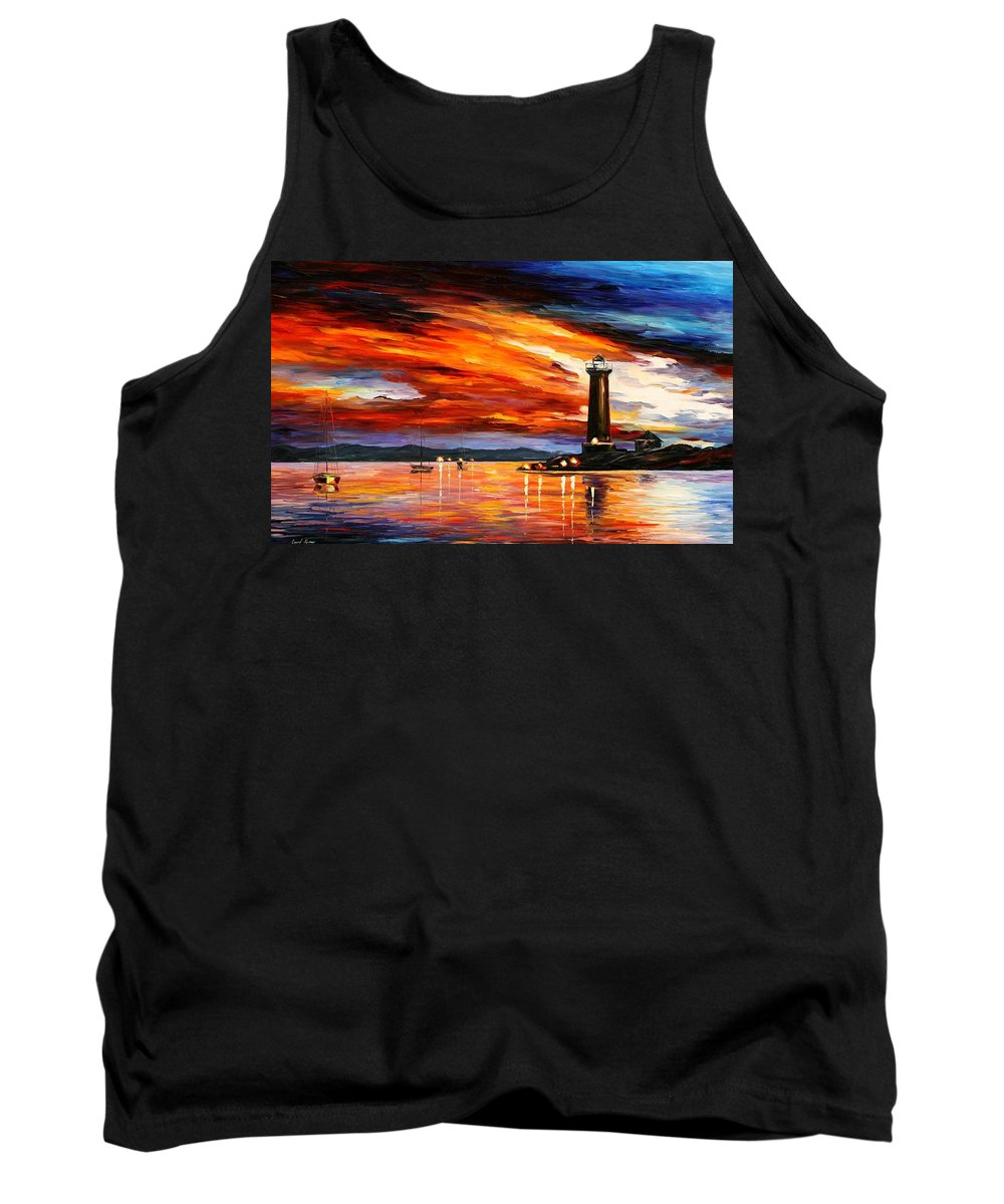 Afremov Tank Top featuring the painting Lighthouse by Leonid Afremov
