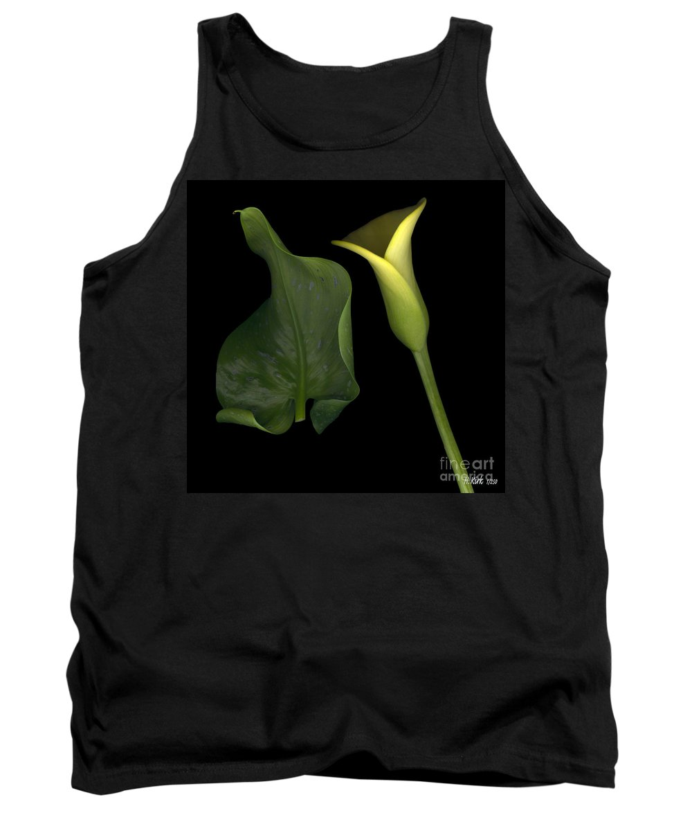 Yellow Tank Top featuring the photograph Lily And Leaf Number Two by Heather Kirk