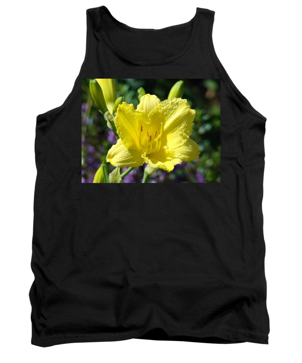Lilies Tank Top featuring the photograph Lily Flower Art Print Canvas Yellow Lilies Baslee Troutman by Baslee Troutman