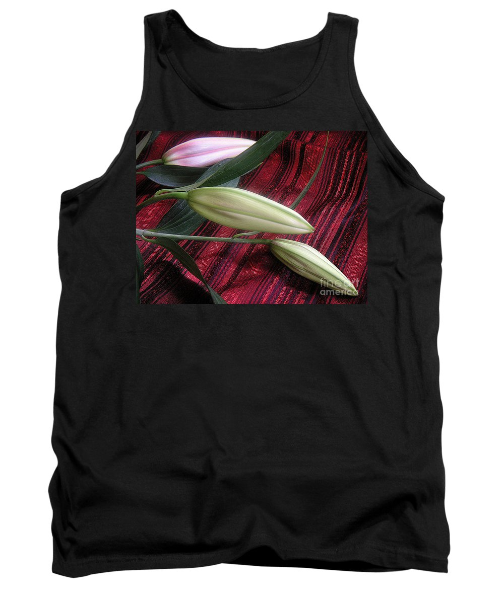 Nature Tank Top featuring the photograph Lily Stem On Red Brocade by Lucyna A M Green