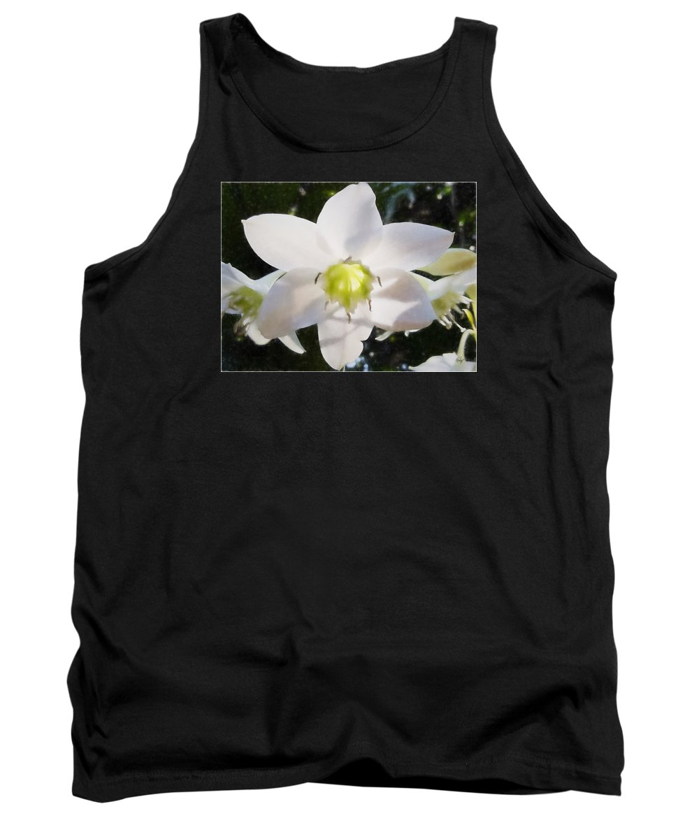 Floral Tank Top featuring the digital art Lily White by Edier C