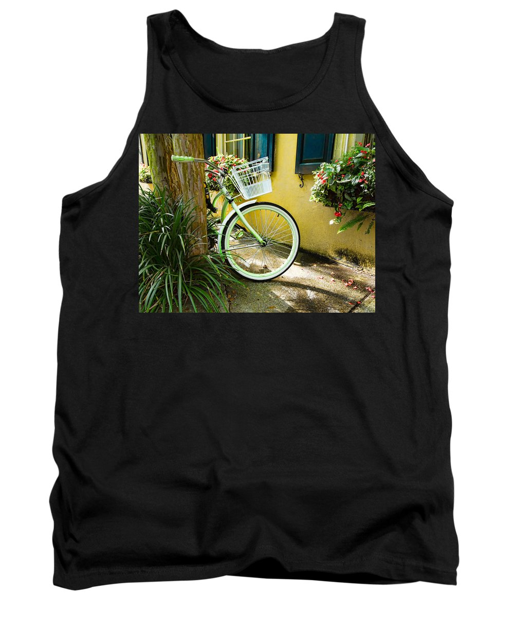 Parked Tank Top featuring the photograph Lime Green Bike by Cindy Archbell