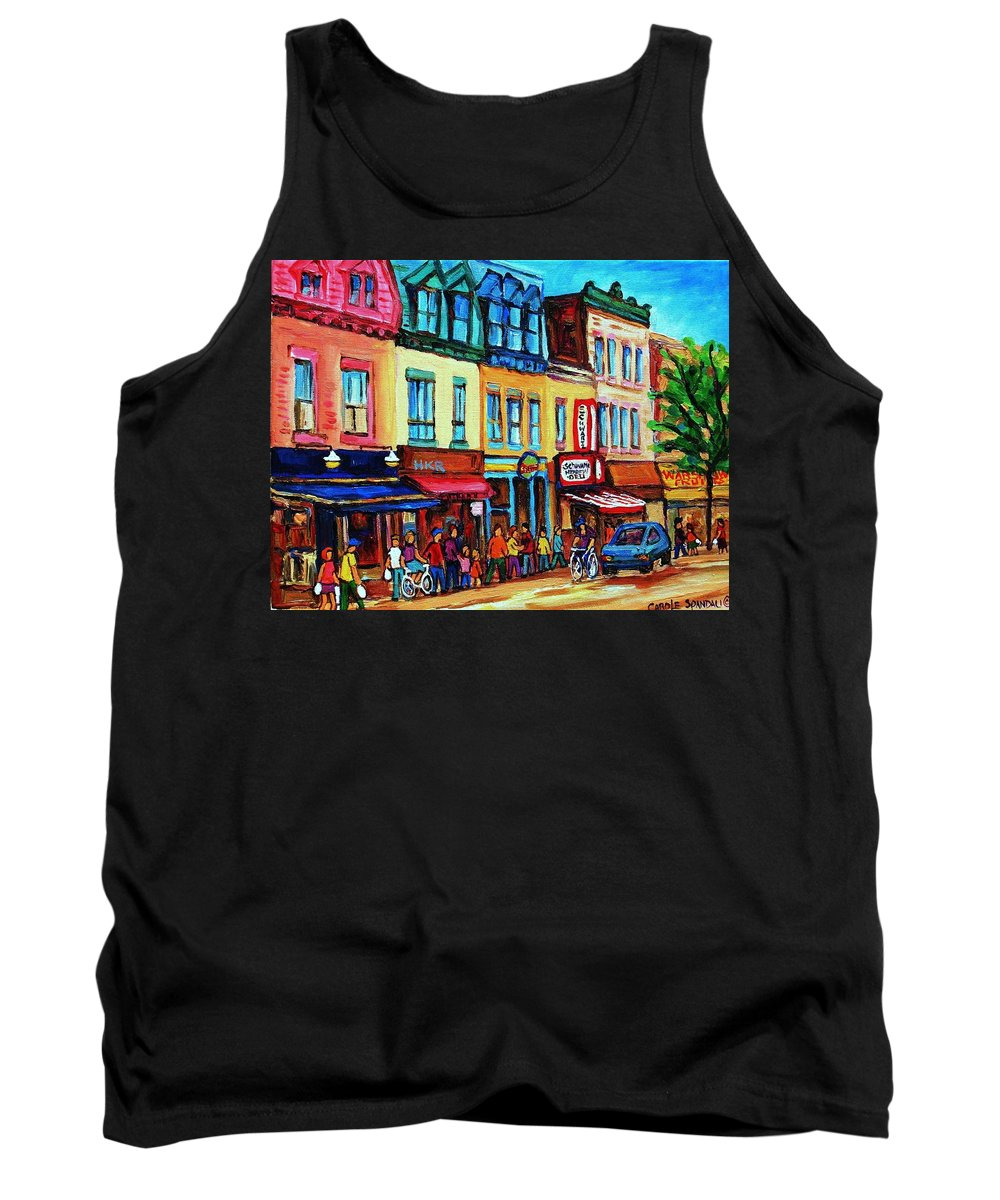 Cityscape Tank Top featuring the painting Lineup For Smoked Meat Sandwiches by Carole Spandau