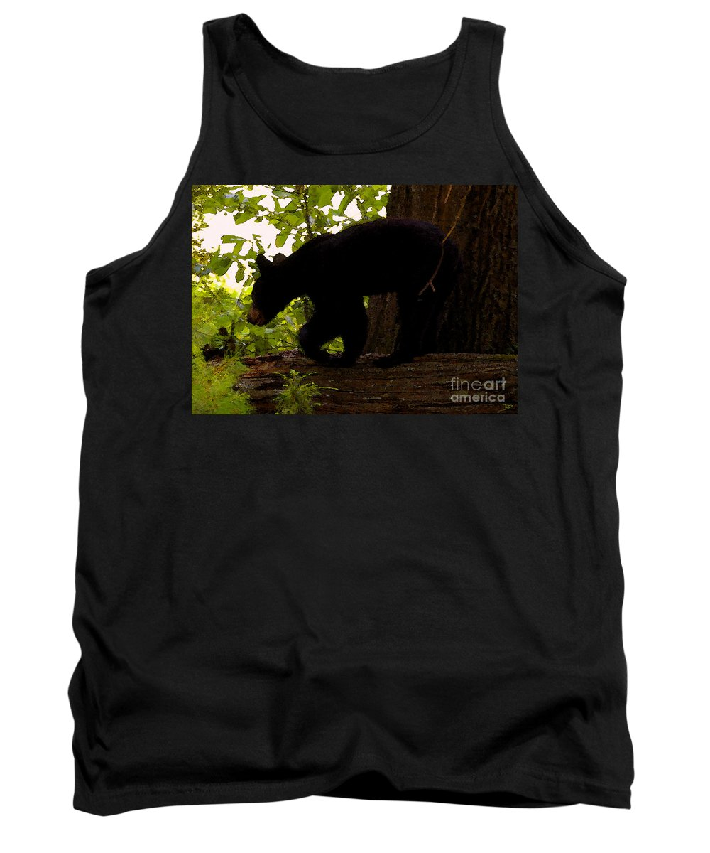 Black Bear Tank Top featuring the painting Little Black Bear by David Lee Thompson
