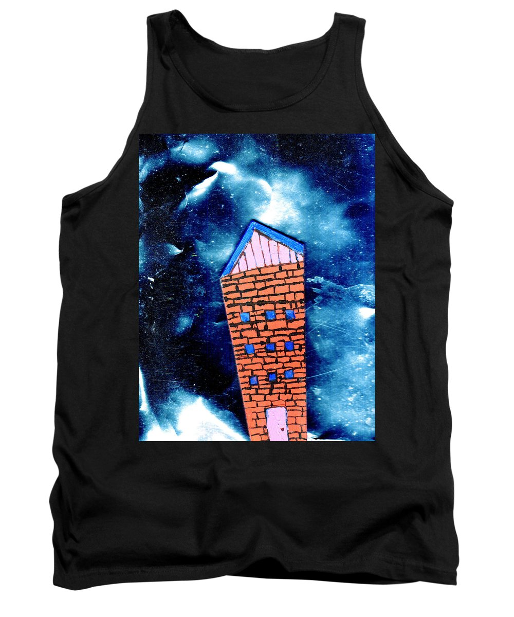 Mixed Media Tank Top featuring the painting Little House In The Cosmos by Wayne Potrafka