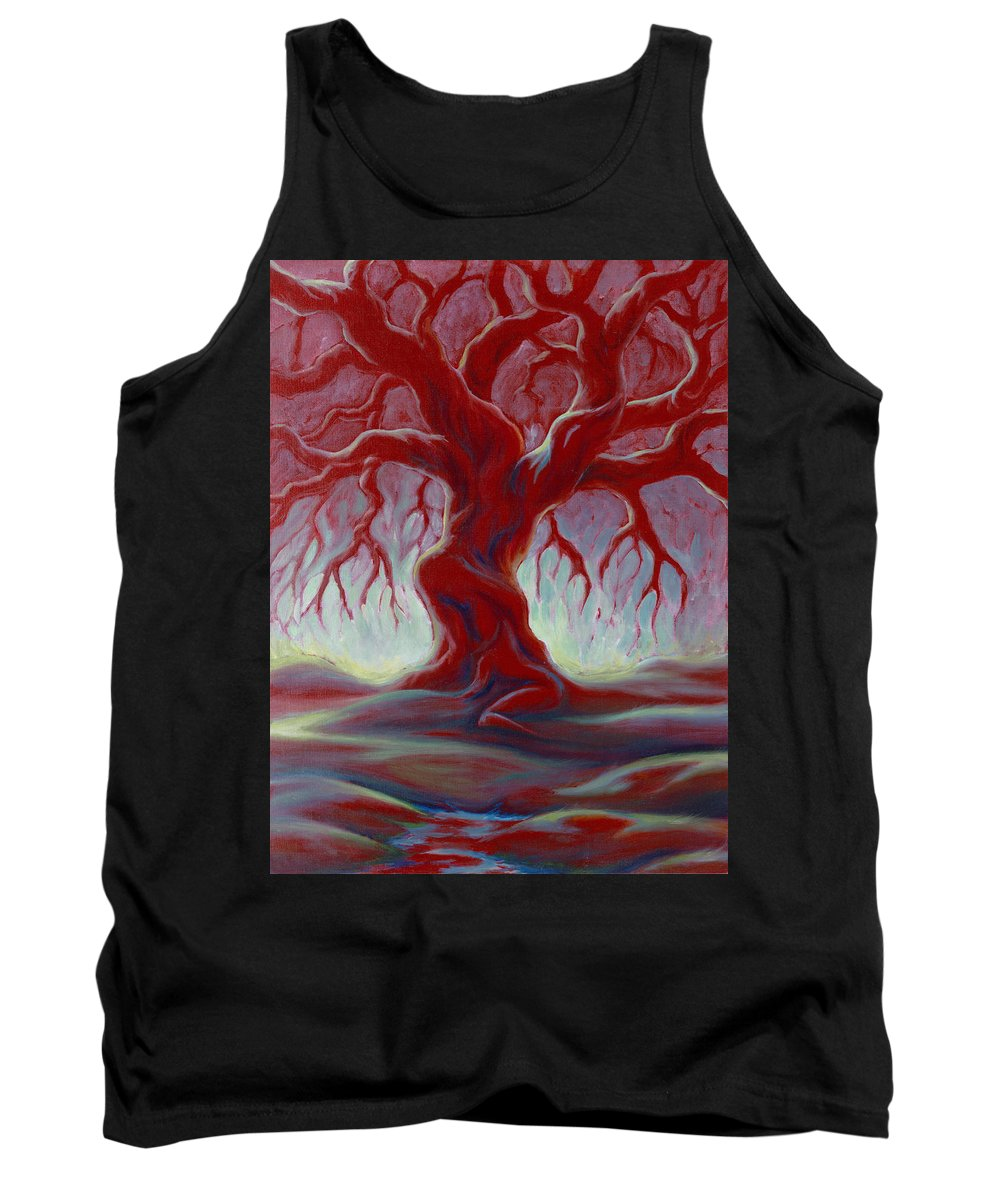 Red Oak Tank Top featuring the painting Live Oak by Jennifer McDuffie