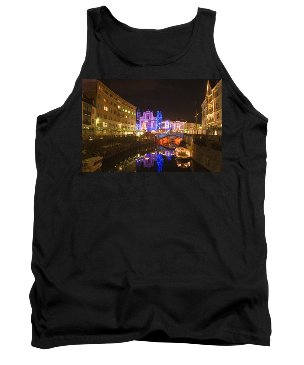 Christmas Tank Top featuring the photograph Ljubljana At Christmas by Ian Middleton