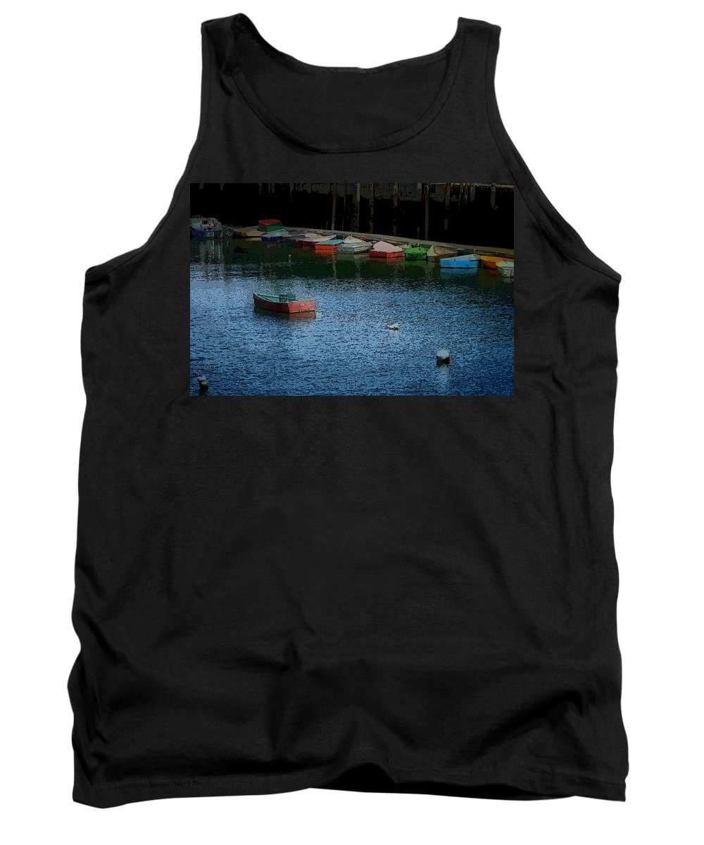 New England Boats Tank Top featuring the photograph Lonely Boat by Nancie DeMellia