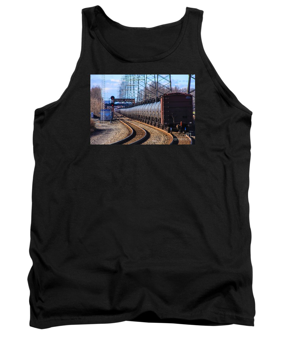 This Is A Long Line Of Tanker Cars Being Pulled By Two Csx Engines By The Bound Brook Train Station In New Jersey Tank Top featuring the photograph Long Line Of Tanker Cars by William Rogers