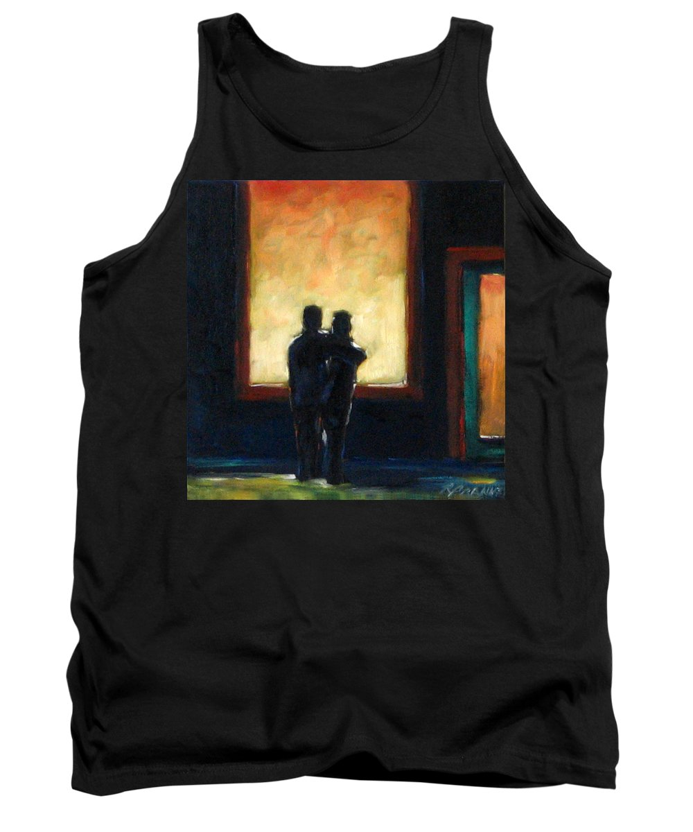 Town Tank Top featuring the painting Looking In Looking Out Mini by Richard T Pranke
