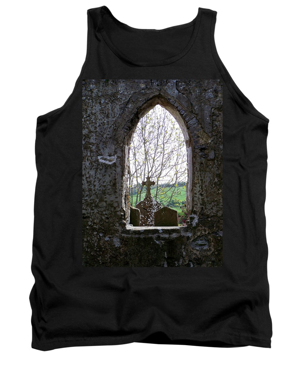 Ireland Tank Top featuring the photograph Looking Out Fuerty Church Roscommon Ireland by Teresa Mucha