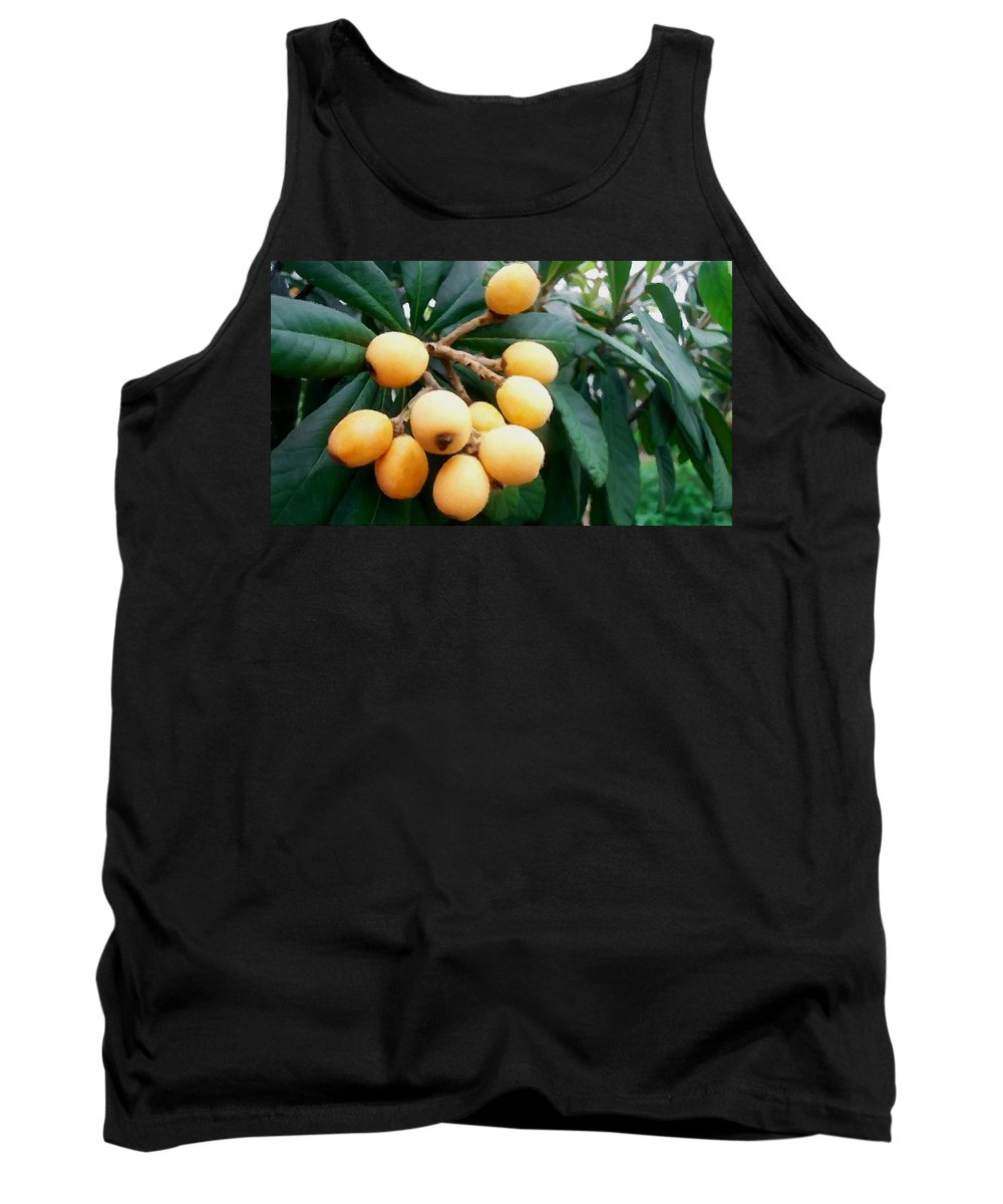 Loquats In The Tree Tank Top featuring the painting Loquats In The Tree 3 by Jeelan Clark