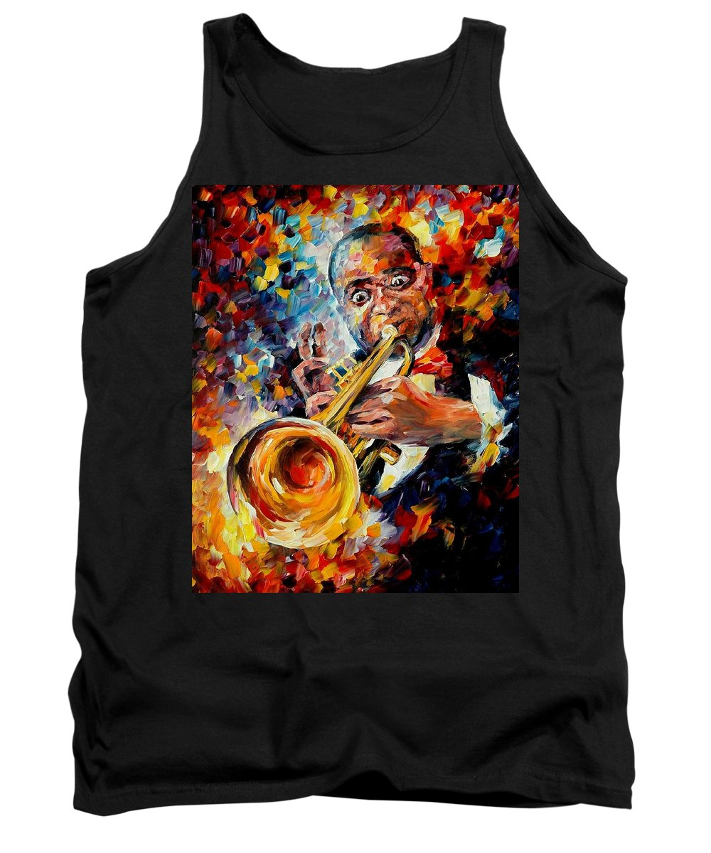 Music Tank Top featuring the painting Louis Armstrong by Leonid Afremov