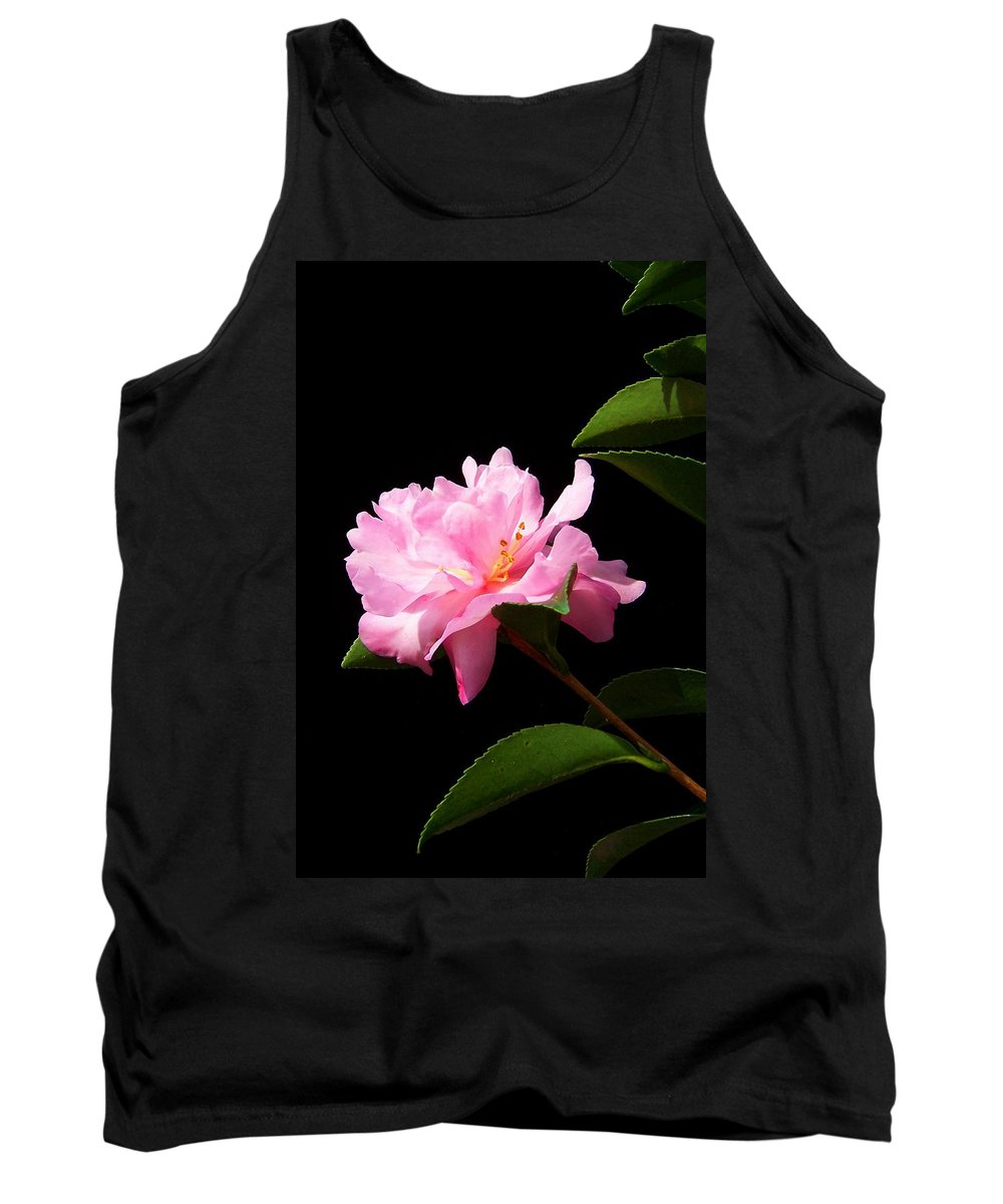 Flower Tank Top featuring the photograph Lovely Pink Camelia by Laurie Paci
